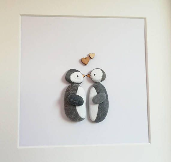 Pebble Art Picture Penguin Kissing Couple Anniversary Wedding Engagement gift Home Decor Personalised