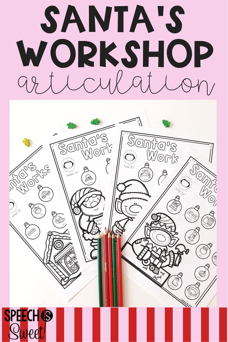 Coloring activities speech therapy - Santa S Articulation Workshop