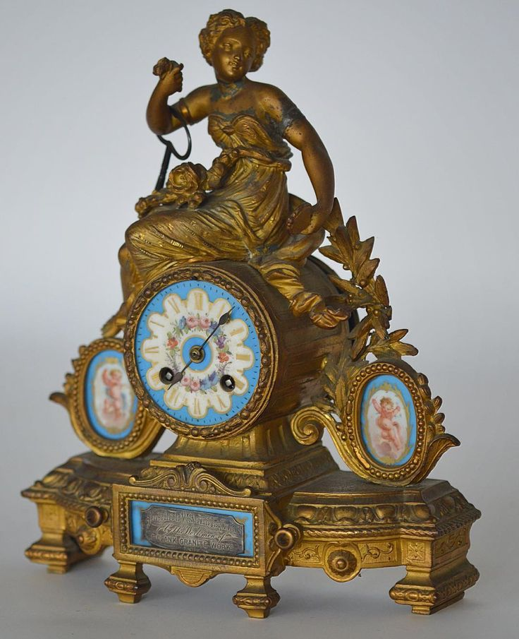 LOT 463: A good French porcelain mounted mantle clock on bracket feet. Est. 50 - 80. Coming up in our SPRING AUCTION on Thursday 9th March. To include #Silver #Jewellery #Watches #Collectables #Pictures #China & #Antique #Furniture. #March9 #whittonsauctions #auction #Honiton #pin