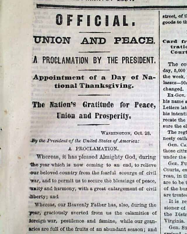 """By Andrew Johnson, for the """"Nation's Gratitude for Peace, Union, and Prosperity"""", within a New York, NY newspaper in 1865... To view additional images including a full description, click on the image.  To view additional newspapers containing Thanksgiving Proclamations, go to  http://www.rarenewspapers.com/list?code=thanksgiving"""