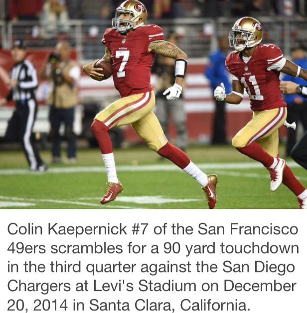 San Diego Chargers Football Scores: Colin Kaepernick 90-yard TD Score!