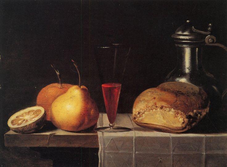 Sebastien Stoskopff fruits verre vin metal nappe Huile sur bois, 27,5 x 36,5cm