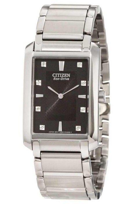 Montre Citizen Eco-Drive BL6050-57E, boîtier et bracelet en acier, cadran noir.