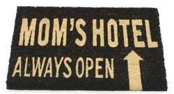 """Mom's Hotel Always Open Decorative Black and Brown Coir Welcome Door Mat 24"""""""" x 16"""""""" V704-31531008"""