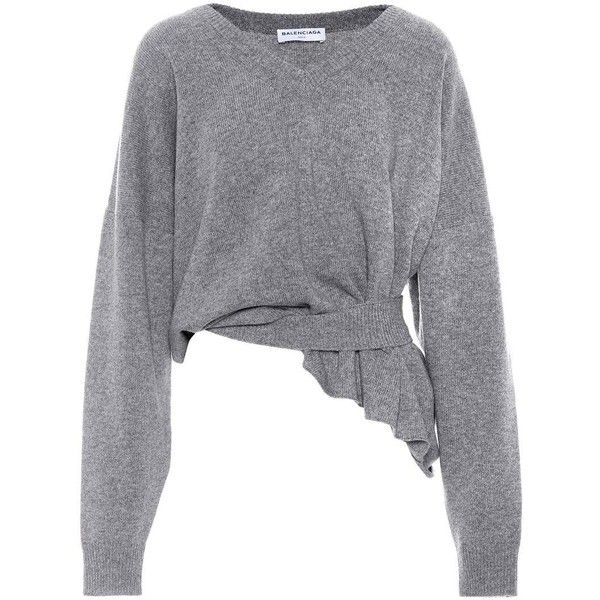 Balenciaga Wool and Cashmere Sweater (13.088.890 IDR) ❤ liked on Polyvore featuring tops, sweaters, grey, wool top, grey sweater, grey cashmere sweater, gray top and wool sweater