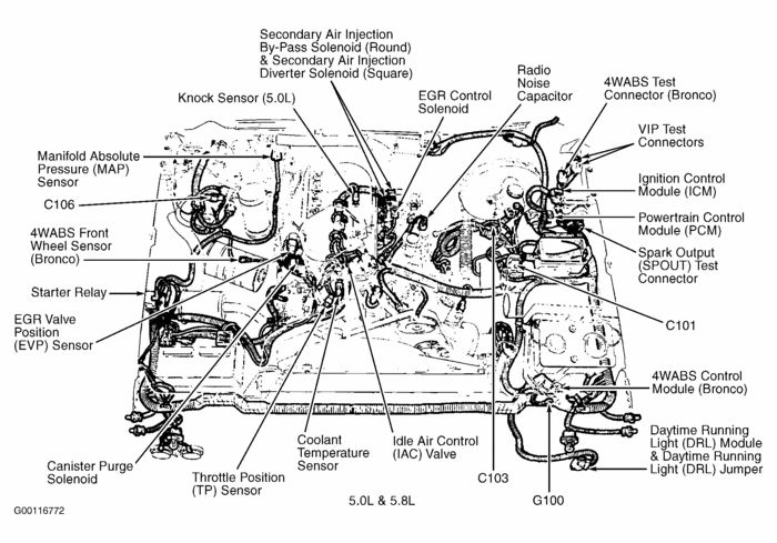 ford f150 engine diagram 1989 1994 ford f150 xlt 5 0 302cid rh pinterest com 1993 Ford F-150 Wiring Diagram 1983 Ford F-150 Wiring Diagram