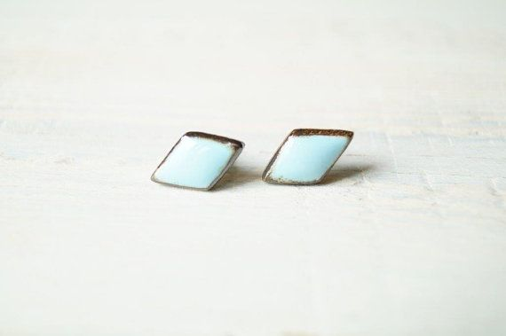 SALE 25% Off Pastel Blue Stud Earrings Ceramic Studs by bemika