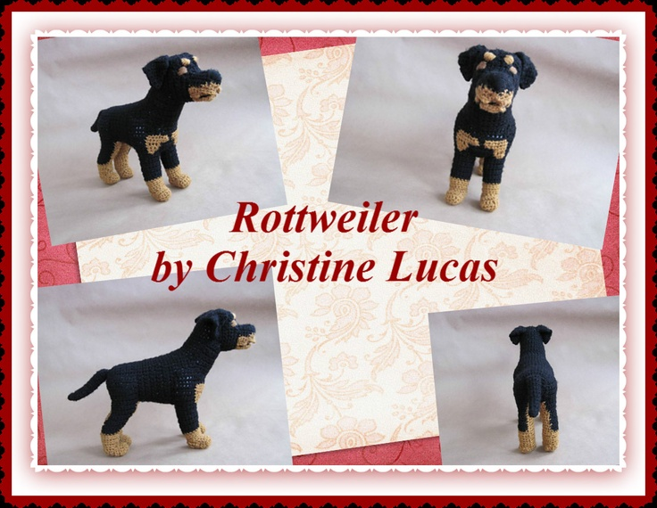 """Rottweiler by Christine Lucas - This pattern is available for $3.50 USD. This Rottweiler has the coloring and attributes of a realistic Rottie. He measures 12.5""""L x 10""""H x 4""""W (measurements do not include tail length) He is made from my own original pattern."""