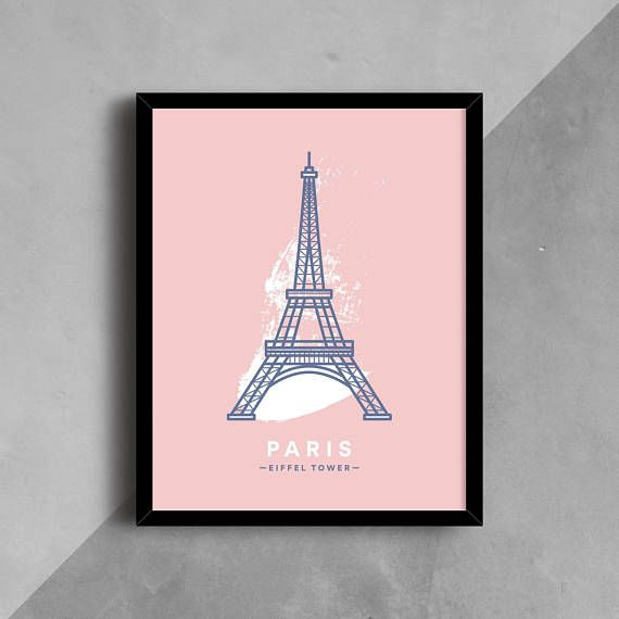 Paris Printable Eiffel Tower Famous Architecture Pink and