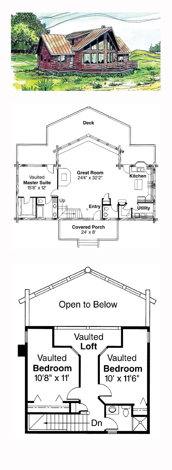 Log House Plan 69362 | Total Living Area: 1987 sq. ft., 3 bedrooms and 2.5 bathrooms. #loghome