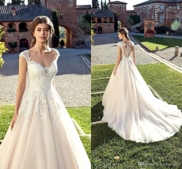 New Arrival A Line Wedding Dresses 2019 Deep V Neck Sweetheart Cap Sleeves Tulle Lace Appliques Sheer Back Sweep Train Bridal Gowns