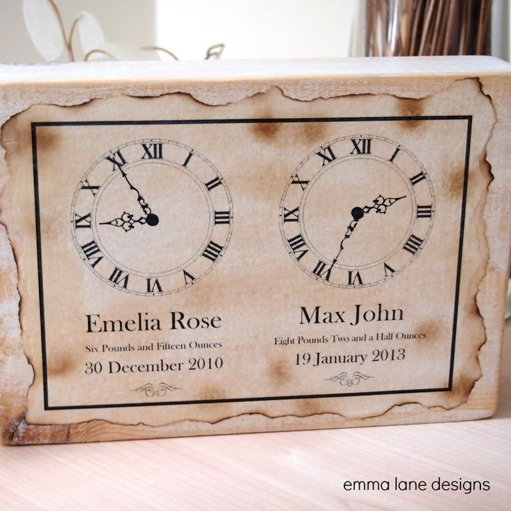 Keepsake Block – Two Children | Emma Lane Designs. The perfect keepsake gif for proud parents of twins or two children. £19.50.