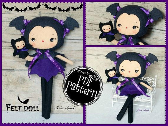PDF. Bat girl with puppet.Plush Doll Pattern, Softie Pattern, Soft felt Toy Pattern. via Etsy...These are beyond super cute <:3 ^_^!!