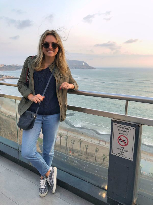 116923c6d Navy knit sweater+jeans+navy and white gingham sneakers+khaki green utility  jacket+black crossbody-bag+sunglasses. Fall Casual Outfit 2018