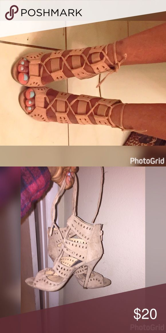 Beige strappy heels Got it from a little store in Miami Beach so not from listed brand. Worn once so like new Zara Shoes