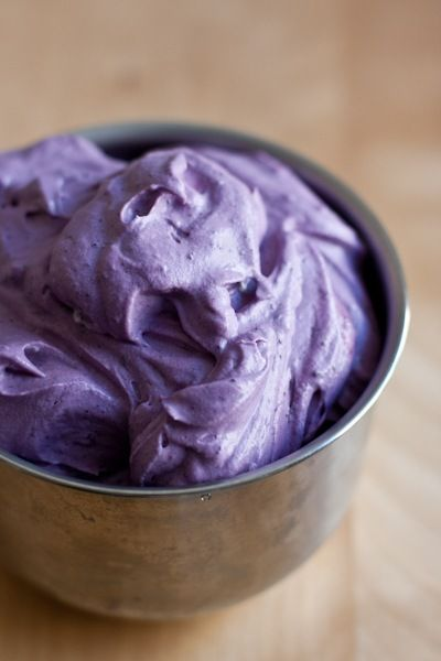 Blueberry Whipped Cream Frosting: 1c heavy whipping cream, 4oz cream cheese [full fat], 1/2c blueberries, 6T raw honey