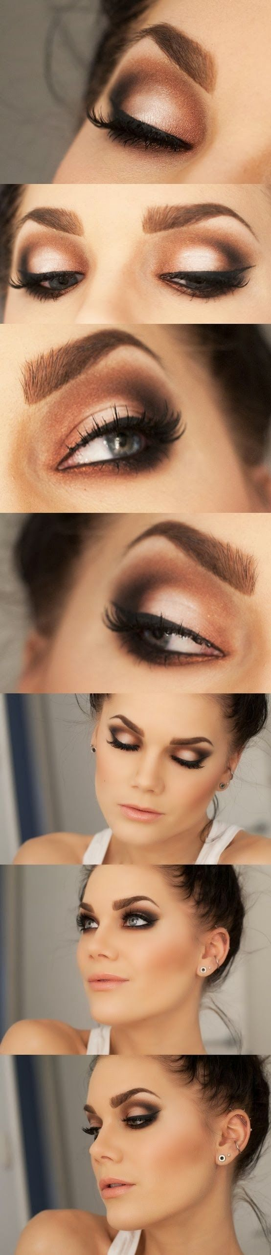 Sexy soft smokey eye make up with brown. This might suit me much better with the white in the middle of the lid - less harsh against dark brown eyes.