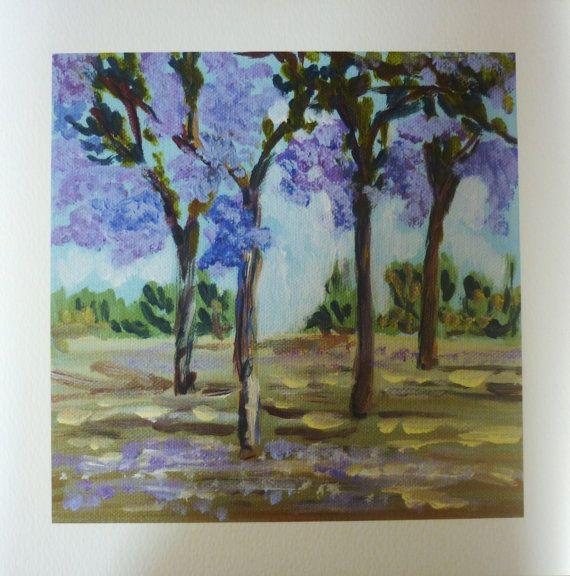 Jacaranda trees.  Small original acrylic painting or may be purchased as a print. Through the jacaranda  trees