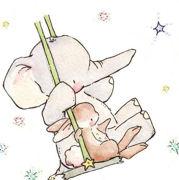 Children Art Print. Bunny and Elephant Swing for the Stars. PRINT 8X10. Nursery Art Home Decor