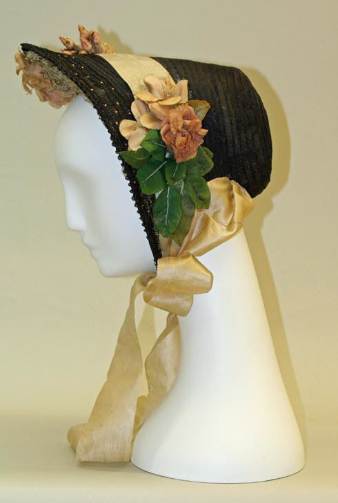 ~Bonnet, circa 1863, American~ By 1860's parasols had become all the rage and bonnets, except for cold weather wear, became purely ornamental. Due to their lack of functionality, they decreased in size throughout the decade.