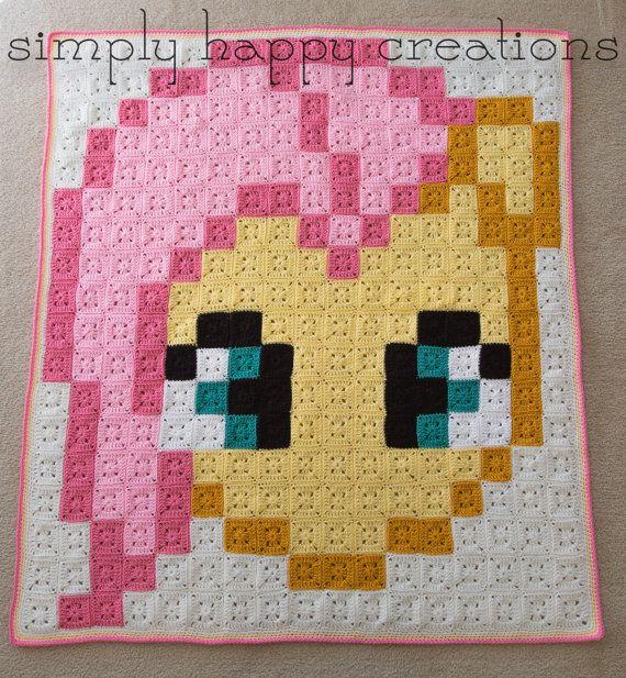 Crochet 8-Bit Fluttershy My Little Pony blanket by simplyhappycreations