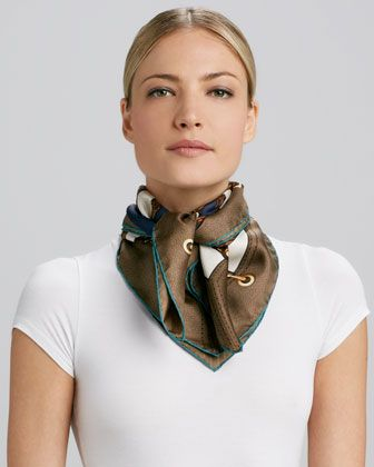 Bamboo Circle Foulard Scarf, Brown/Green by Gucci at Neiman Marcus.