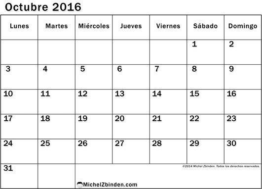 calendario octubre 2016 para imprimir gratis Ventajoso lunes