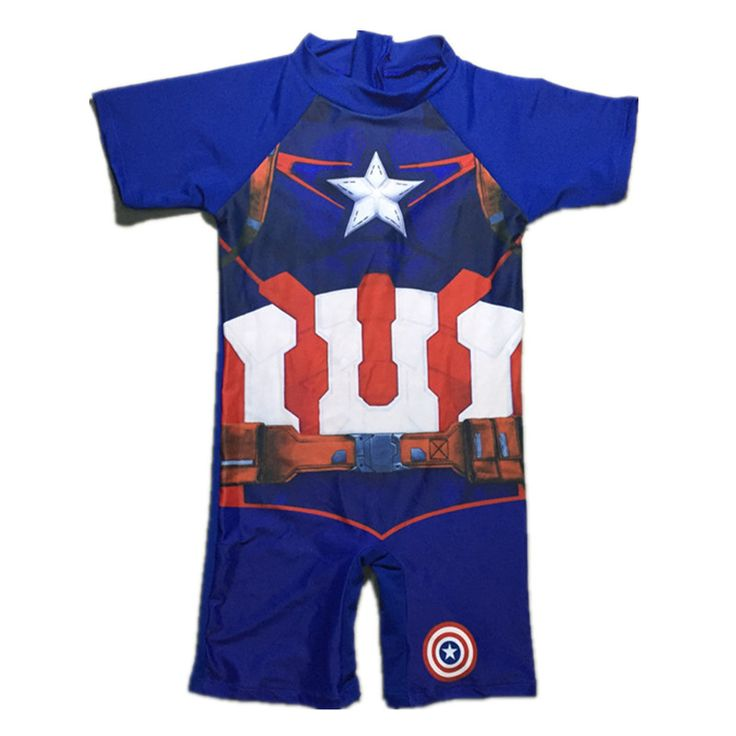 One Pieces Baby boys Bathing Suits Captain America  Little boys blue  Cartoon Swimsuit Children Kids Swimwear Costumes
