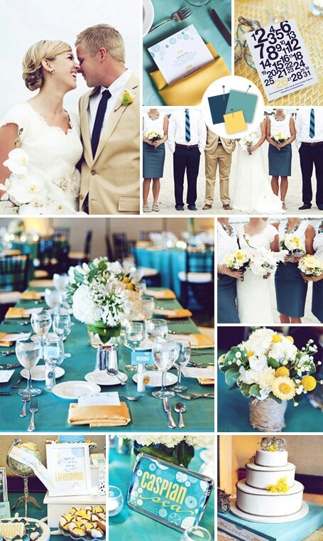 The Knot Tropical Wedding Colors Indigo Teal Yellow