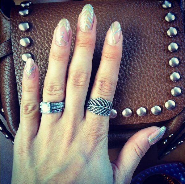 Millie Mackintosh Wearing Morgan Taylor's New Romance, Chrome Base & Give Me Gold available at Louella Belle #MillieMackintosh #Celebrity #MorganTaylor #Nails #Manicure #NailArt #Metallic #Gold #GoldNails #LouellaBelle
