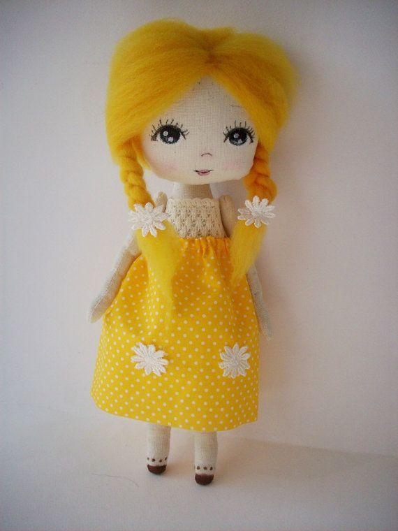 cloth doll rag doll gift for girl nursery by Mydollsforyou on Etsy
