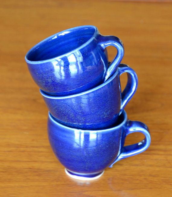 Blue Coffee Cup Set Hand Thrown Porcelain by CaldwellPottery