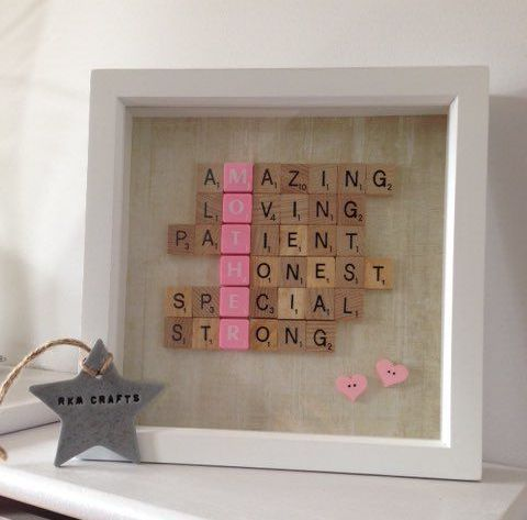 Framed Scrabble Letters | Creative DIY Mother's Day Gifts Ideas | Thoughtful Homemade Gifts for Mom. Handmade Ideas from Daughter, Son, Kids, Teens | Unique, Easy, Cheap Do It Yourself Crafts To Make for Mothers Day, complete with tutorials and instructions http://thrillbites.com/diy-mothers-day-gift-ideas