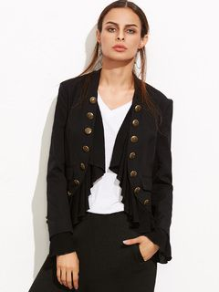 Black+Ruffle+Trim+Double+Breasted+Curved+Blazer+