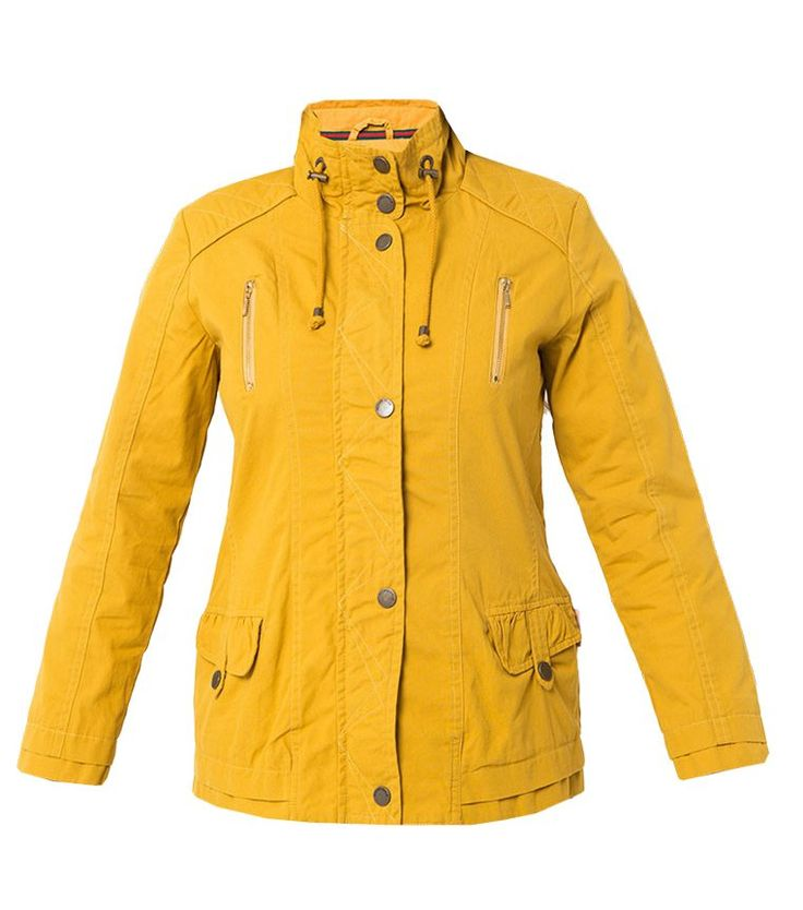 Travel Jacket With Detaile by Novel.Mice. Yellow mustard parka color, perfect for you who love travelling, with front pockets in front, polyester, turtle neck collar, long sleeve, front button and zipper fastening, regular fit.  http://zocko.it/LDpBu