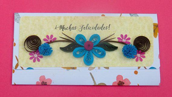 Sobre monedero floral vintage celeste aqua Regalo de robre