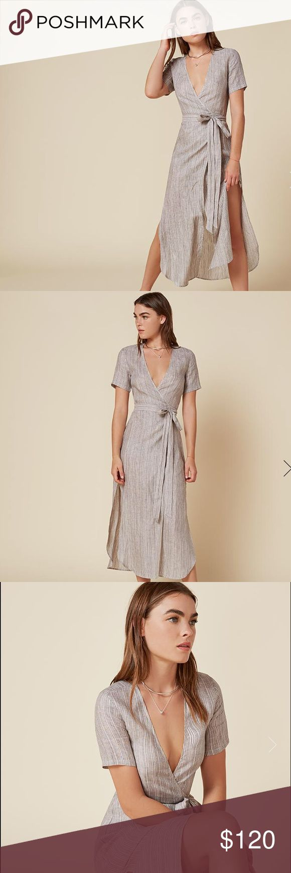 Reformation linen wrap dress Linen adjustable wrap dress size XS/S lightweight material Reformation Dresses Maxi
