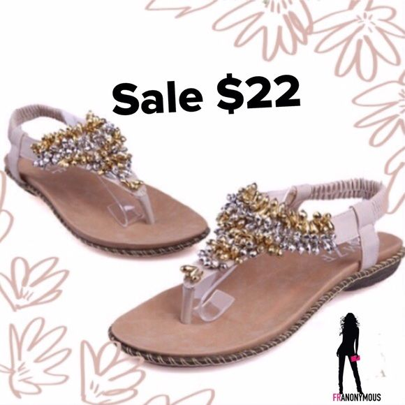 SALE-$18On Trend  Bling Sandals 6, 9 Ask me to drop the price to $18 for you. NWT on trend-the bling sandal. Gold and silver elongated beads adorn this sandal with contour cushioned footbed. Love these! Sizes 6 and 9 are left. Shoes Sandals