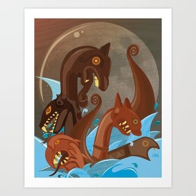 Dragon headed Art Print by Robin Weatherall - $17.68