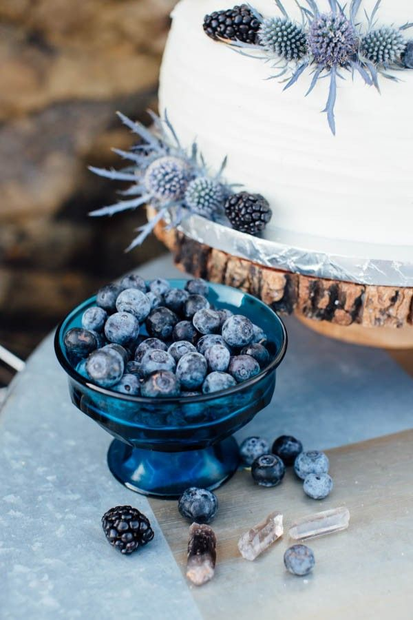 Blue and blackberry garnished wedding cake | Hannah Kate Photography and Bared Soul Photography