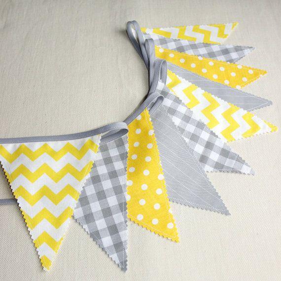Bunting banner - Photo prop - Nursery decor - Grey & Yellow