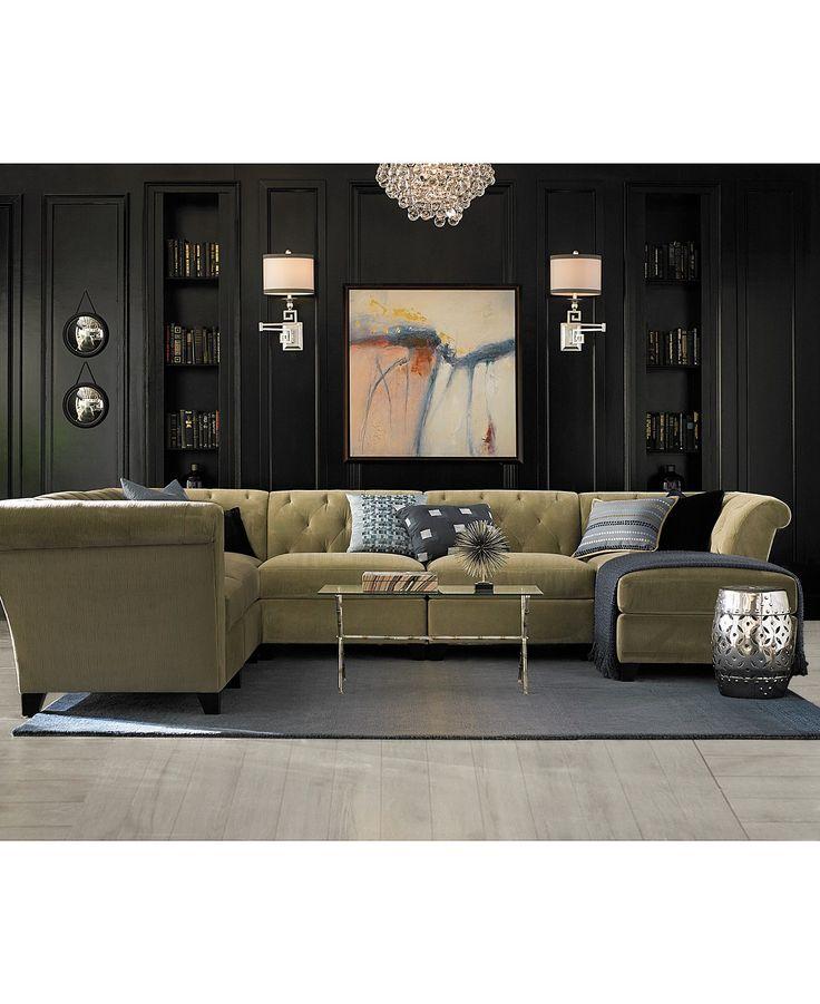 Aubrey Velvet Fabric 6 Piece Chaise Modular   Shop All Living Room    Furniture