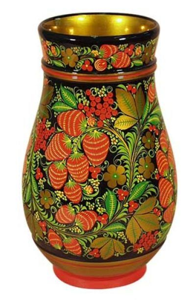 A wooden vase with folk Khokhloma painting from Russia.