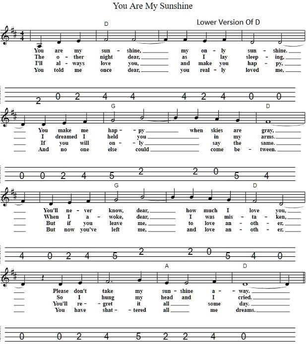 You Are My Sunshine Low D Sheet Music With Images Easy Sheet