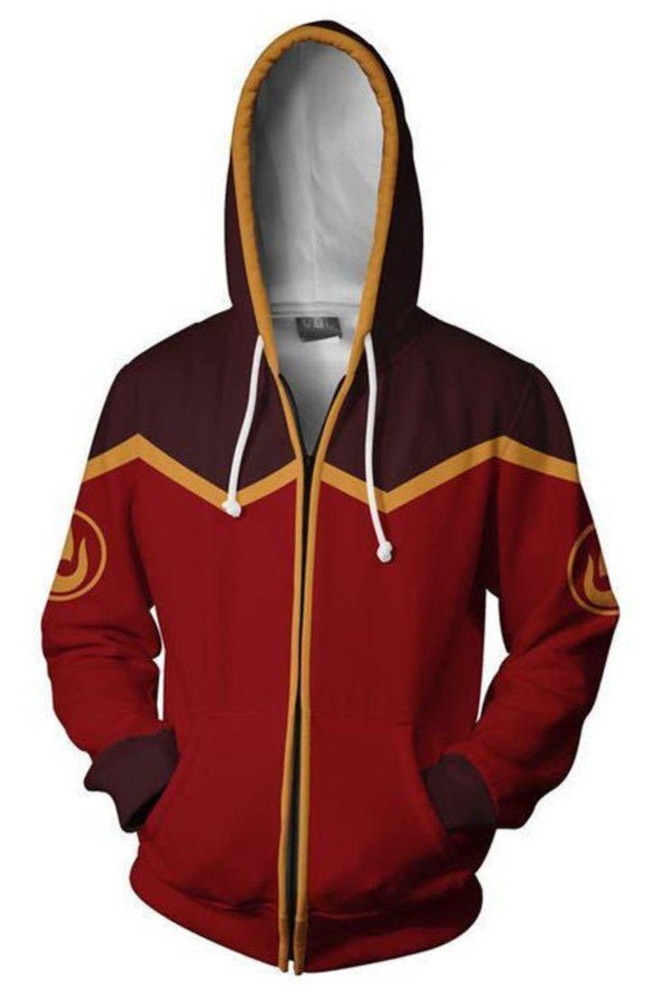 Avatar the last airbender hoodie zipper flame sweatshirt