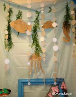 "backdrop bubbles & ""seaweed"" for an ocean or mermaid party"