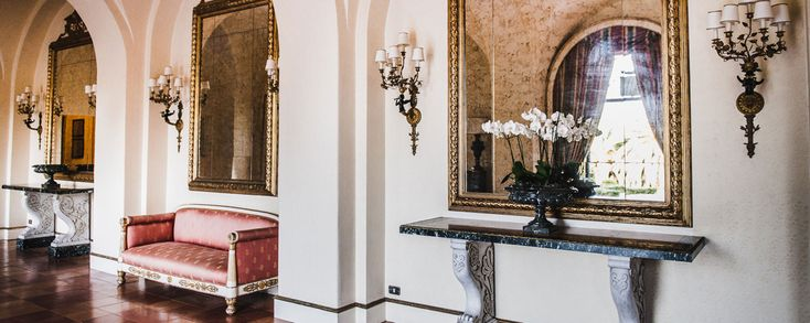 The Hall of Mirrors furnished in Empire Style www.villalalimonaia.it | #wedding #events #classical #important #italy #sicily #villa #villalalimonaia