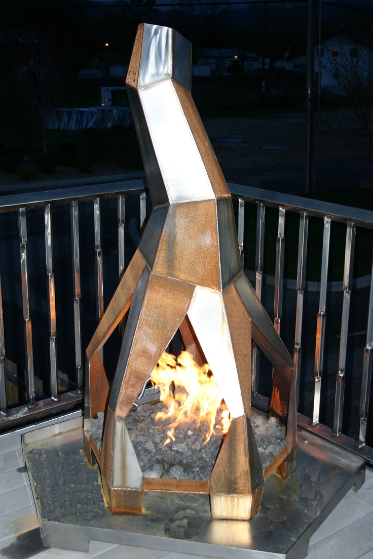 Outdoor Fireplace Welding Project : Free standing outdoor gas fireplace quot h w d