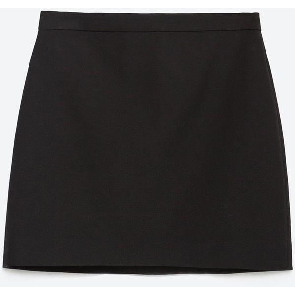 Zara Mini Skirt With Seams ($13) ❤ liked on Polyvore featuring skirts, mini skirts, black, mini skirt, zara skirt, short skirts and short mini skirts