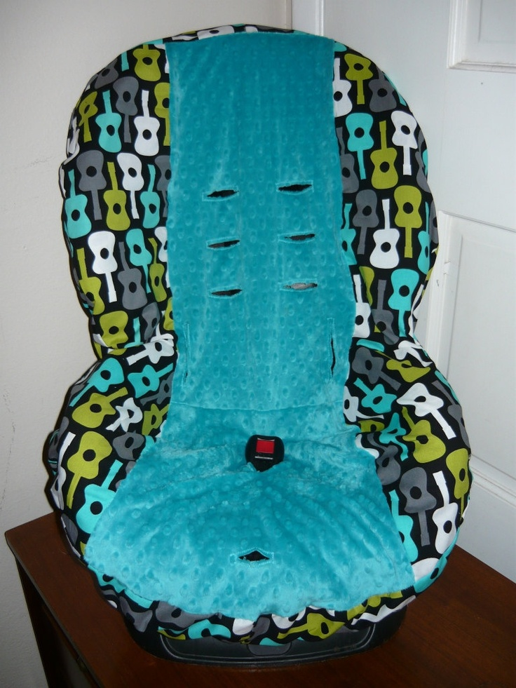 Groovy Guitars Lagoon with Teal Toddler Car Seat Cover. $40.00, via Etsy.